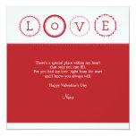 """L.O.V.E. - Red & Pink 5.25"""" Square Invitation Card"""