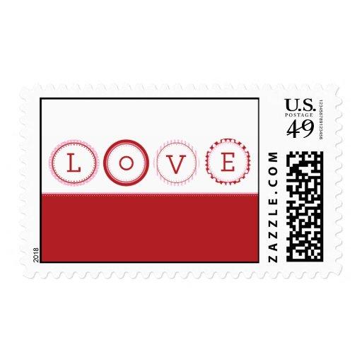 L.O.V.E. - Red & Pink Postage Stamp