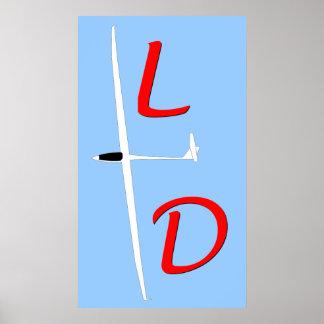L over D Soaring Gliding Poster