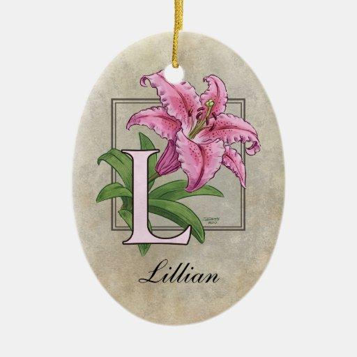 L para el monograma de la flor del lirio adorno navideño ovalado de cerámica