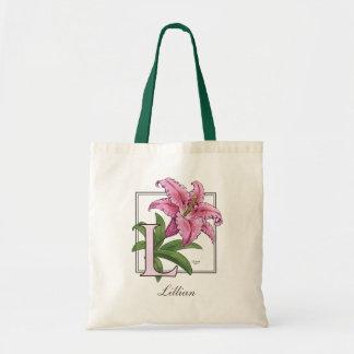 L para el monograma de la flor del lirio bolsa tela barata