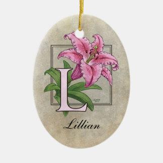 L para el monograma de la flor del lirio ornamente de reyes
