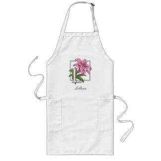 L para el monograma de la flor del lirio delantal largo