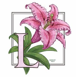 L para el monograma de la flor del lirio fotoescultura vertical