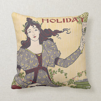 L. Prang & Co's Holiday Publications Ad Vintage Throw Pillow