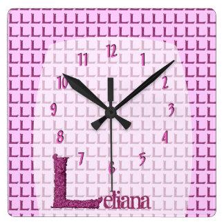 L - The Falck Alphabet (Pink ) Square Wall Clock