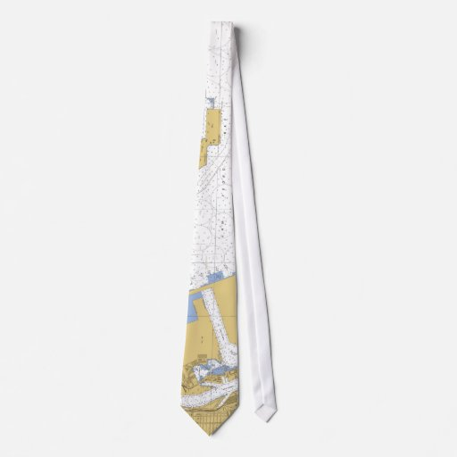L un lazo náutico de la carta del puerto de la bah corbata personalizada
