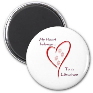 L�wchen Heart Belongs 2 Inch Round Magnet