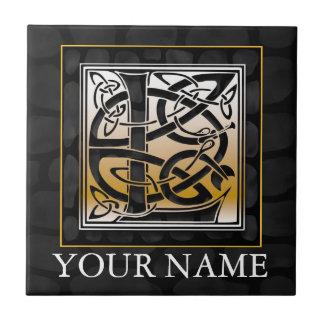 "L ""Your Name"" Celtic Black Stone Monogram Tile"