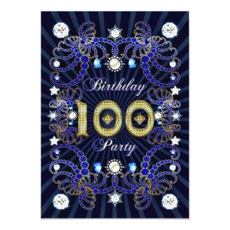 """la 100a fiesta de cumpleaños invita con las masas invitación 5"""" x 7"""""""
