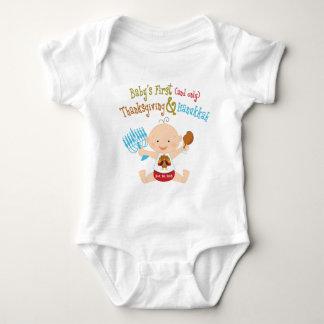 La 1ra acción de gracias y Jánuca del bebé Body Para Bebé