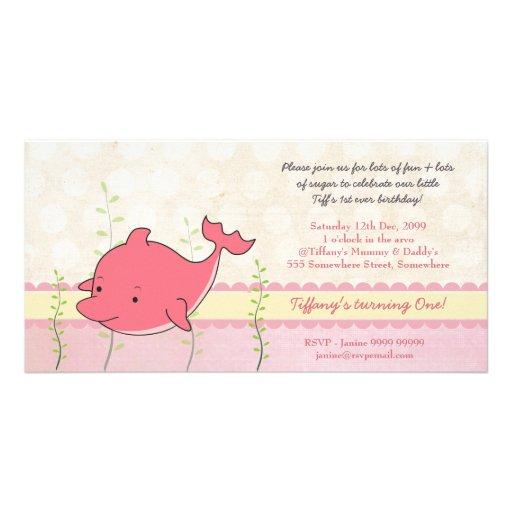 La 1ra fiesta de cumpleaños de los chicas rosados tarjeta fotográfica