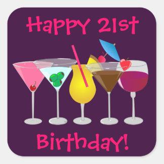 La 21ra fiesta de cumpleaños feliz bebe a los pegatinas cuadradas personalizadas