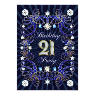 """la 21ra fiesta de cumpleaños invita con las masas invitación 5"""" x 7"""""""