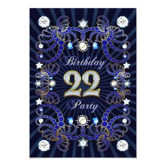 la 22da fiesta de cumpleaños invita con las masas invitación 12,7 x 17,8 cm