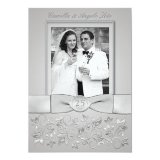 """La 25ta foto IMPRESA del aniversario de boda del Invitación 5"""" X 7"""""""