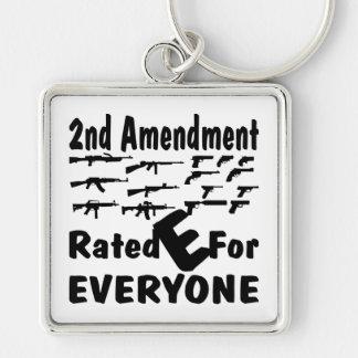 La 2da enmienda E clasificada para cada uno Llavero Cuadrado Plateado
