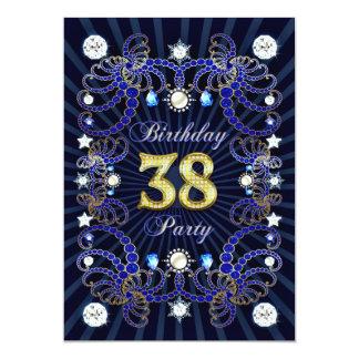 """la 38.a fiesta de cumpleaños invita con las masas invitación 5"""" x 7"""""""