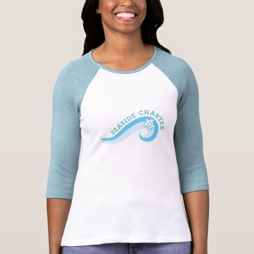 La 3/4 camisa con mangas de las mujeres con el log