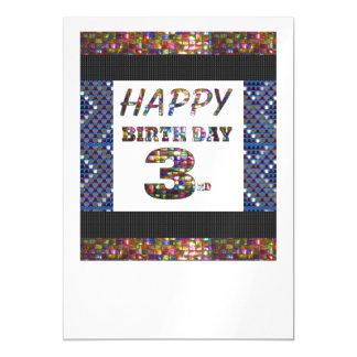 La 3ro plantilla feliz DIY del cumpleaños añade la Invitaciones Magnéticas