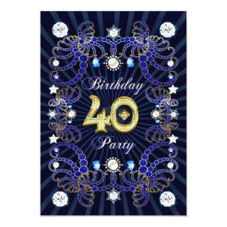 """la 40.a fiesta de cumpleaños invita con las masas invitación 5"""" x 7"""""""