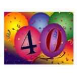 la 40.a postal de la fiesta de cumpleaños invita