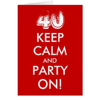 la 40.a tarjeta de cumpleaños el | guarda calma y