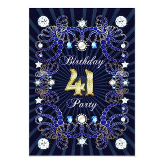 """la 41.a fiesta de cumpleaños invita con las masas invitación 5"""" x 7"""""""
