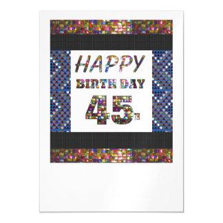 La 45.a plantilla feliz DIY del cumpleaños añade Invitaciones Magnéticas