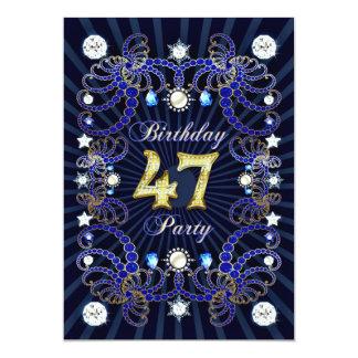"""la 47.a fiesta de cumpleaños invita con las masas invitación 5"""" x 7"""""""
