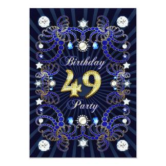 """la 49.a fiesta de cumpleaños invita con las masas invitación 5"""" x 7"""""""