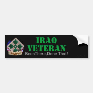 la 4ta división de infantería Iraq revisa a pegati Etiqueta De Parachoque
