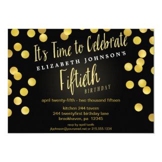 La 50.a fiesta de cumpleaños del confeti elegante invitación 12,7 x 17,8 cm