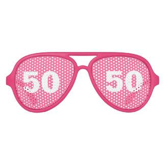 La 50.a fiesta de cumpleaños divertida sombrea lentes de fiesta