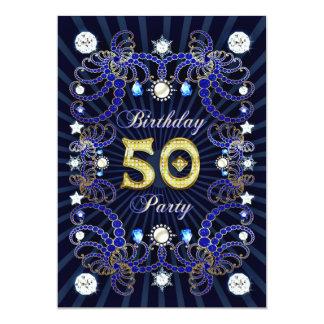 """la 50.a fiesta de cumpleaños invita con las masas invitación 5"""" x 7"""""""