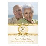 La 50.a foto de oro del aniversario de boda invita comunicados personalizados