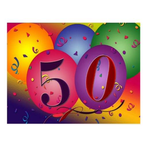 la 50.a postal de la fiesta de cumpleaños invita