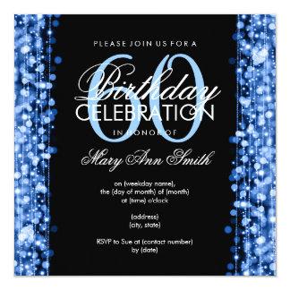 """La 60.a fiesta de cumpleaños elegante chispea azul invitación 5.25"""" x 5.25"""""""