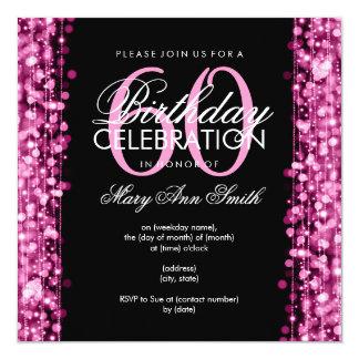 """La 60.a fiesta de cumpleaños elegante chispea rosa invitación 5.25"""" x 5.25"""""""