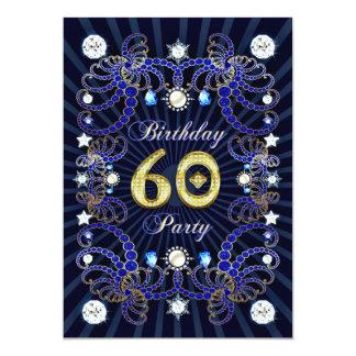 """la 60.a fiesta de cumpleaños invita con las masas invitación 5"""" x 7"""""""