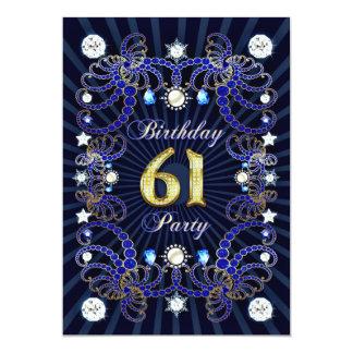"""la 61.a fiesta de cumpleaños invita con las masas invitación 5"""" x 7"""""""