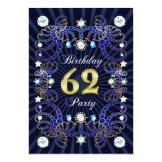 """la 62.a fiesta de cumpleaños invita con las masas invitación 5"""" x 7"""""""