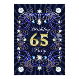 """la 65.a fiesta de cumpleaños invita con las masas invitación 5"""" x 7"""""""