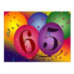 la 65.a postal de la fiesta de cumpleaños invita -