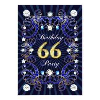 """la 66.a fiesta de cumpleaños invita con las masas invitación 5"""" x 7"""""""