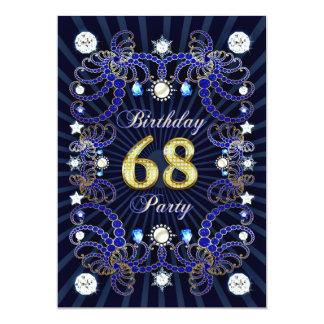"""la 68.a fiesta de cumpleaños invita con las masas invitación 5"""" x 7"""""""