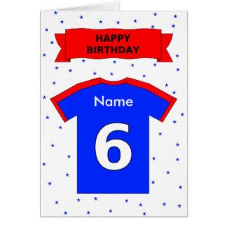 la 6ta camiseta de los deportes del cumpleaños tarjeta de felicitación