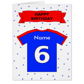 la 6ta camiseta del cumpleaños añade un nombre tarjeta de felicitación grande