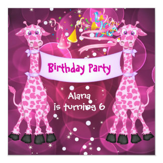 """La 6ta jirafa del rosa de la fiesta de cumpleaños invitación 5.25"""" x 5.25"""""""