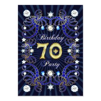 """la 70.a fiesta de cumpleaños invita con las masas invitación 5"""" x 7"""""""